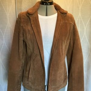 Brown suede bomber jacket with removeable collar